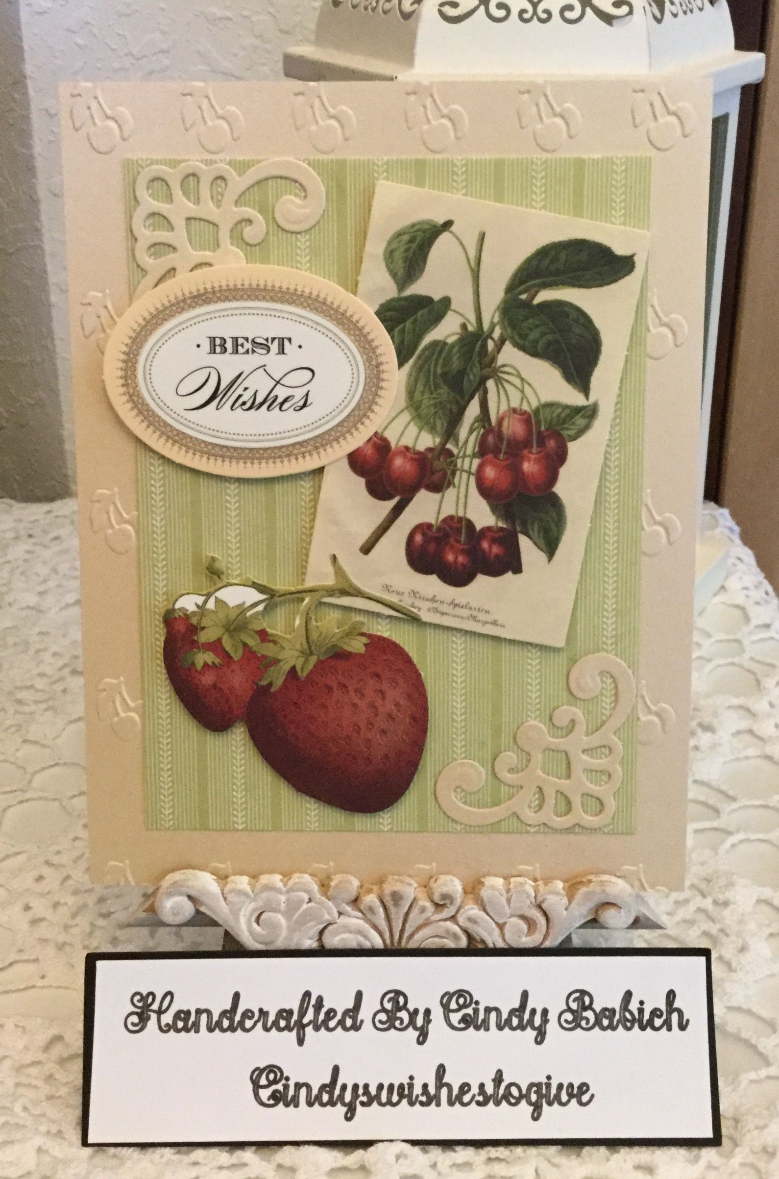 Retirement card made with anna griffin cherries jubilee embossing