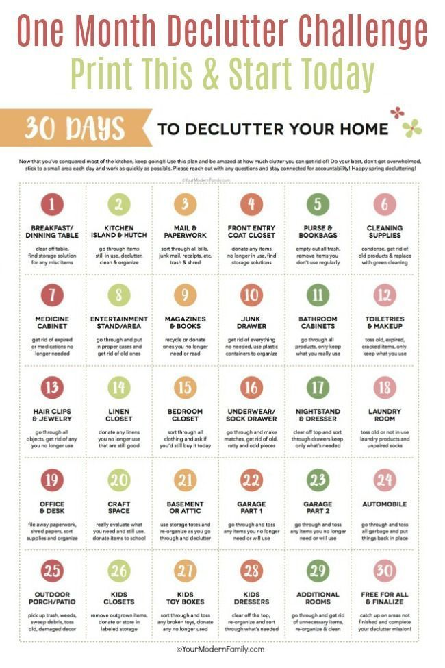 One-Month Declutter Challenge (print this!) #declutter
