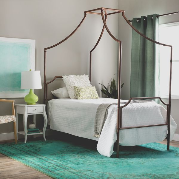 bailey brushed copper twin size canopy bed 80008384 overstock shopping great deals on i. Black Bedroom Furniture Sets. Home Design Ideas