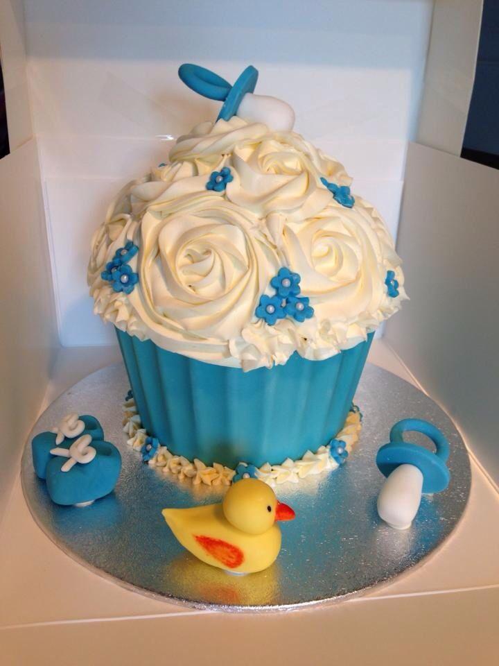 Giant Baby Shower Cupcake It S A Boy Big Cupcake Yummy Cupcakes Cupcake Cakes