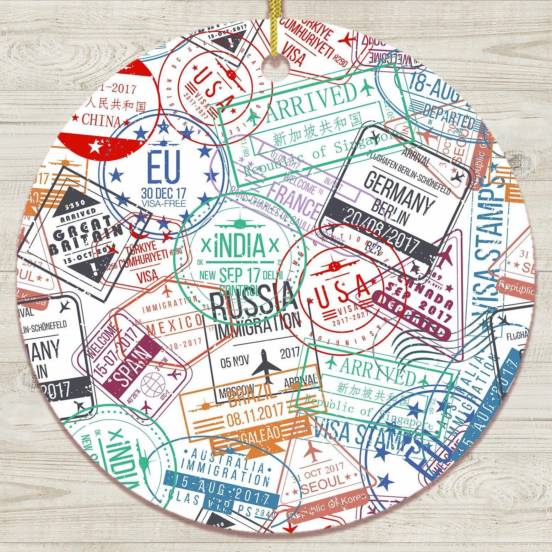 Travel Stamp Pattern Ornament