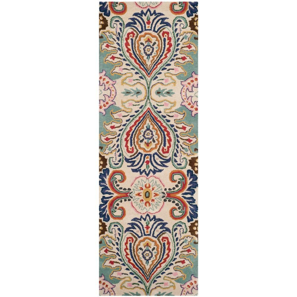 Safavieh Bella Ivory Blue 2 Ft X 11 Ft Runner Rug Bel118a 211 Wool Area Rugs Area Rugs Rug Runner