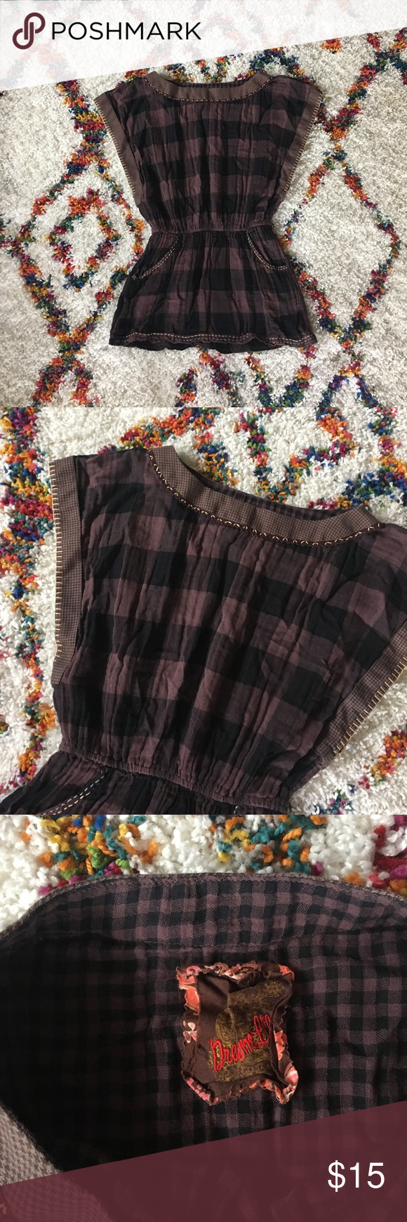 🌙 GINGHAM FESTIVAL TOP 🌙 Beautifully made gingham top in black and brown with stitching detailing. Cinched waist and pockets! So cute on!! PLEASE NOT THAT ALL GARMENTS ARE STEAMED OR IRONED BEFORE SENDING | NOT BRAND LISTED // LISTED FOR VIEWS. Free People Tops