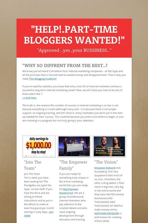 """HELP!.PART-TIME BLOGGERS WANTED!"""