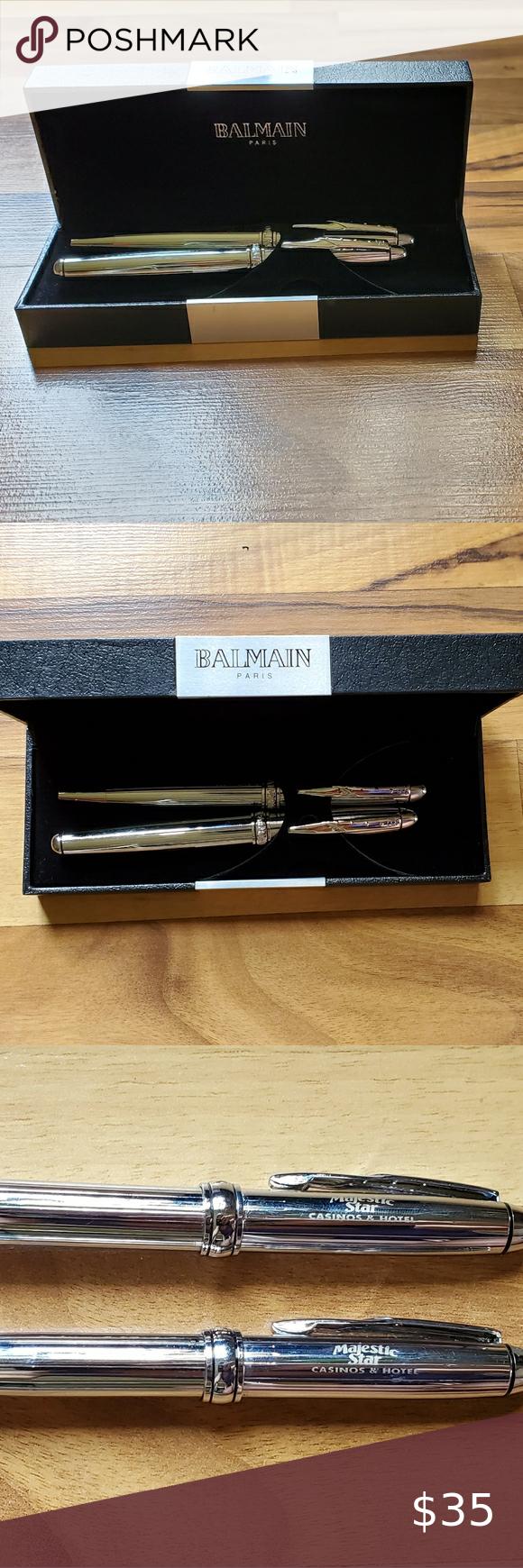 rare ..super vintage condition no box Pierre Balmain PARIS gold and silver ballpoint pen
