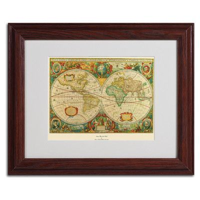 Trademark art old world map painting framed graphic art frame trademark art old world map painting framed graphic art frame brown beveled gumiabroncs Images