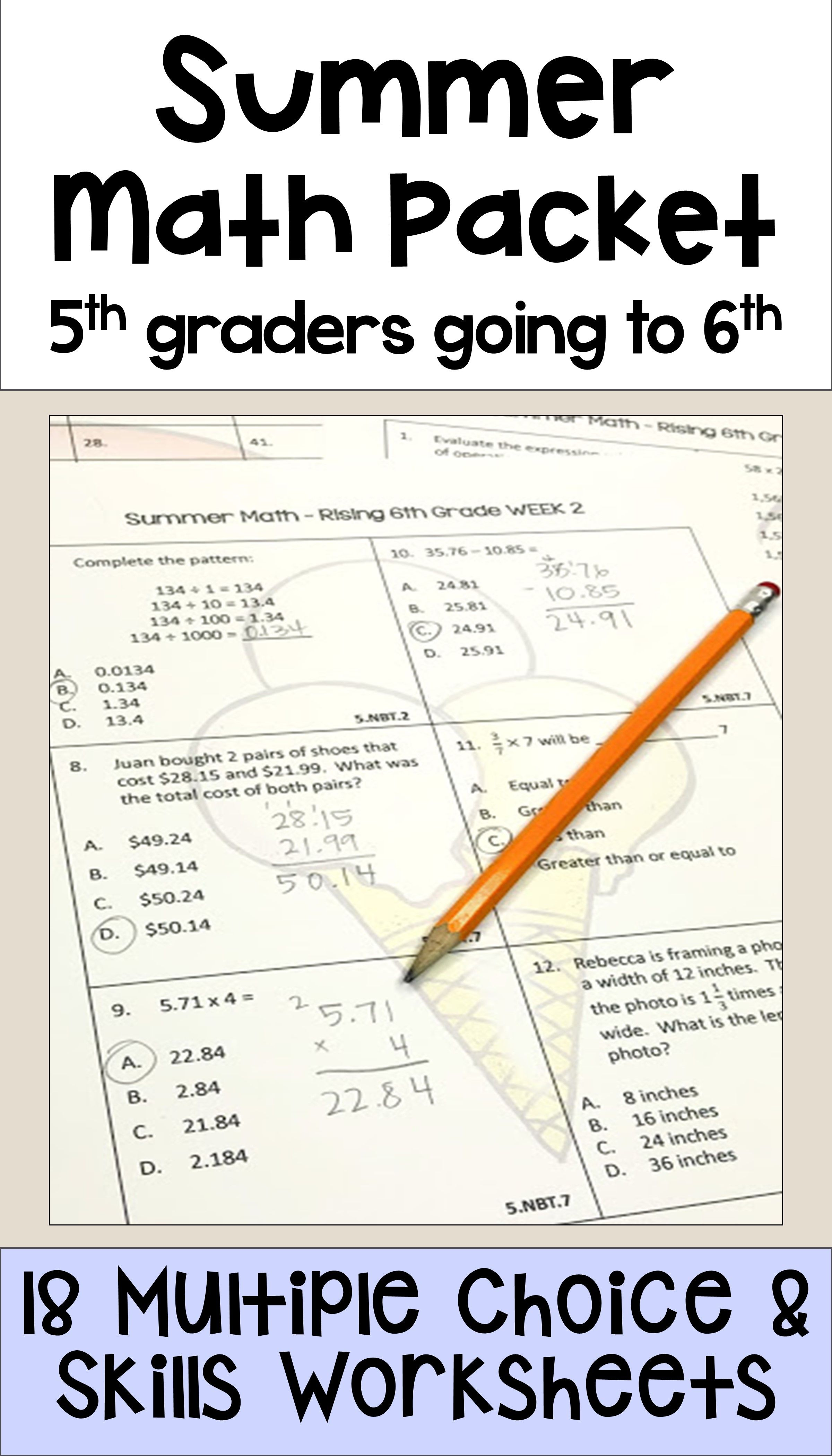 Summer Math Packet For Rising 6th Graders Review Of 5th Grade