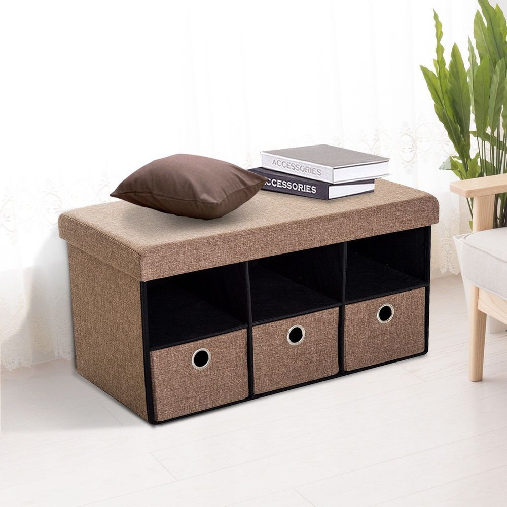 Foldable Ottoman Bench 3 Drawers Brown Colour Wooden Storage Hallway Furniture