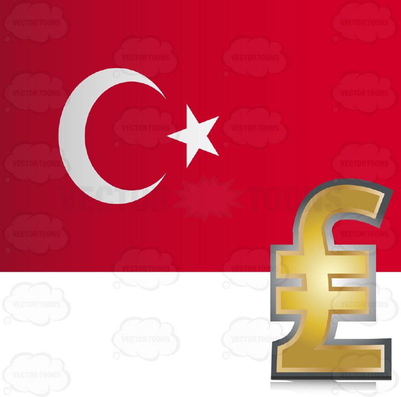 Republic Of Turkey Flag With Golden Turkish Lira Currency Sign