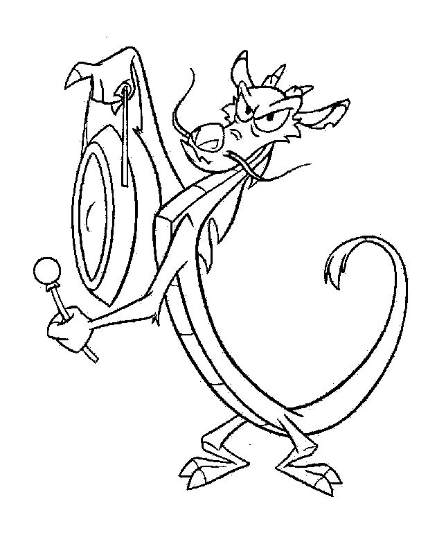 coloring pages art therapy mushu beating the bell