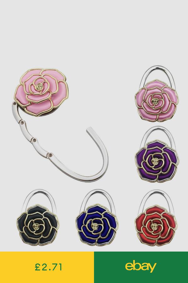 Pink Flower Everything Purse Hanger Handbag Hook Retractable Folding