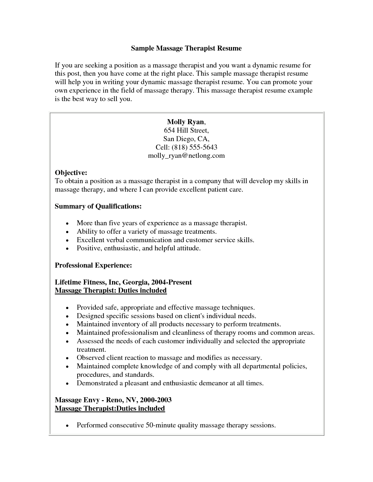 Objectives To Put On A Resume Massage Therapist Resume Sample Massage Therapist Resume Sample