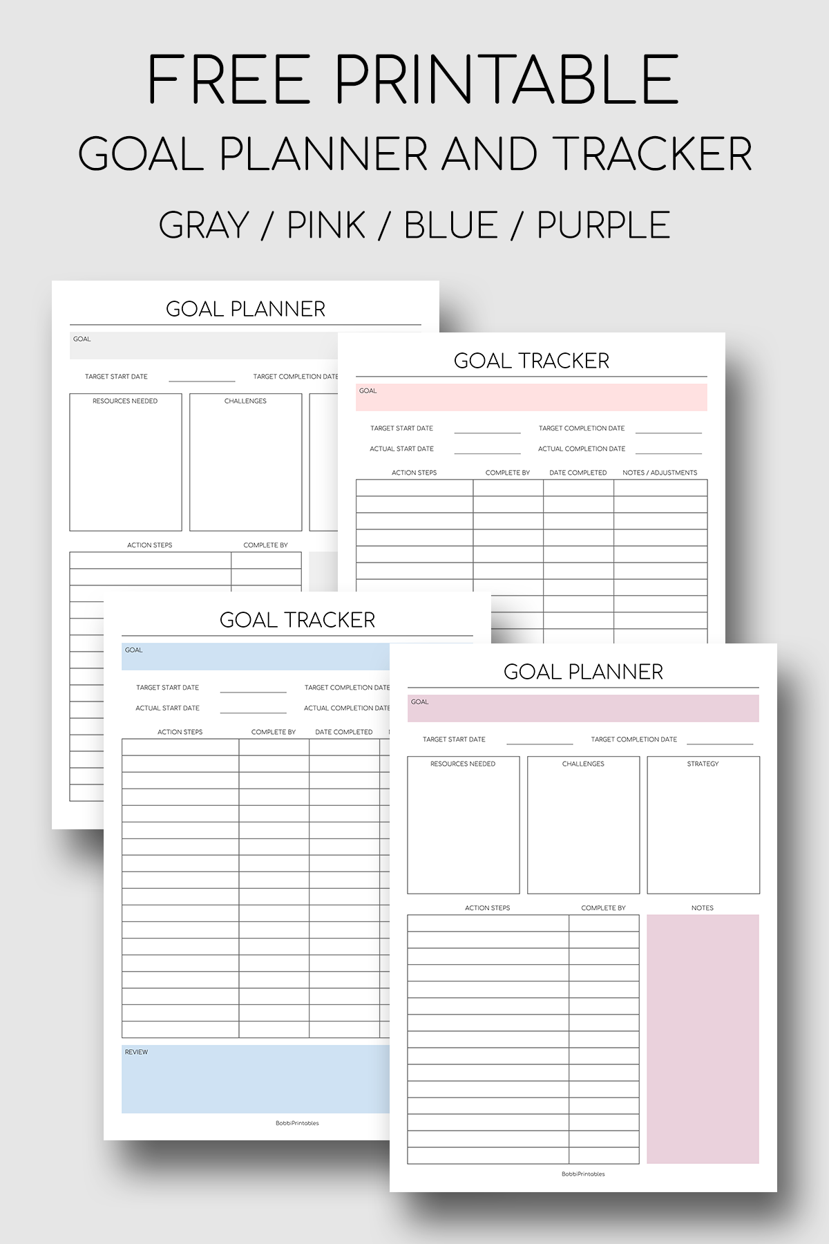Printable Goal Planner And Goal Tracker In