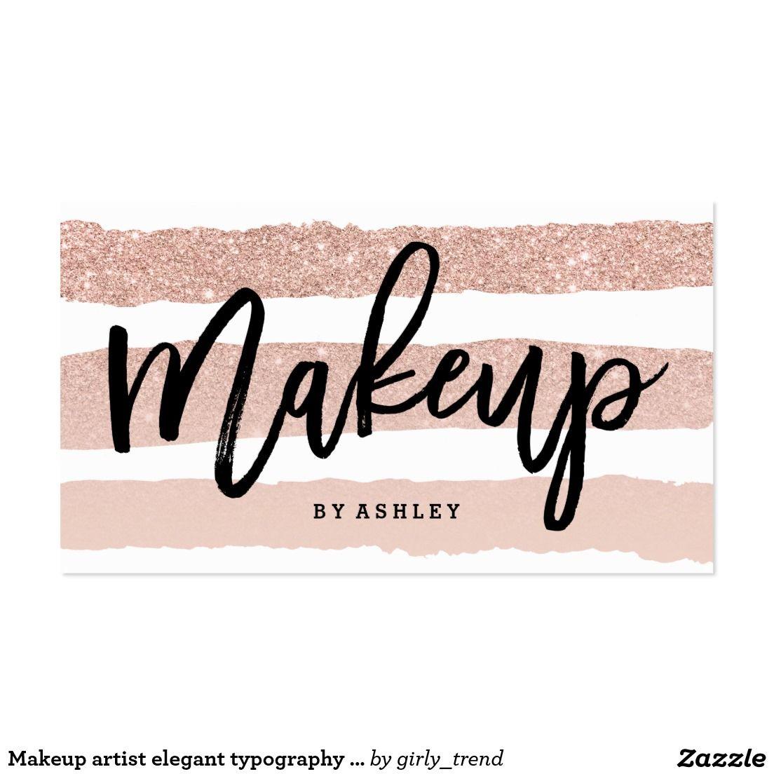 Makeup artist elegant typography rose gold stripes business card ...