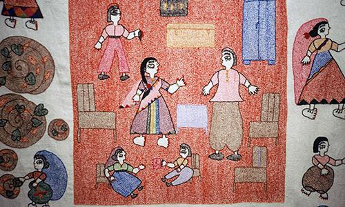 Khatwa applique consisting of different textured fabrics from Bihar