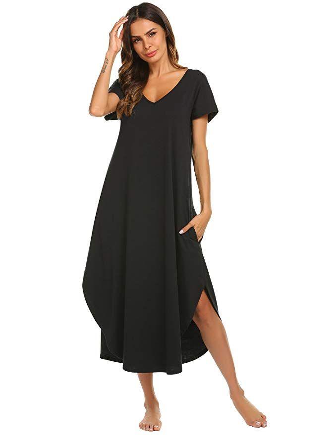 f108d45223b Ekouaer Plus Size Nightgown Women s Cotton Knit Sleepwear Comfort Loose  Lounge Dress (Black