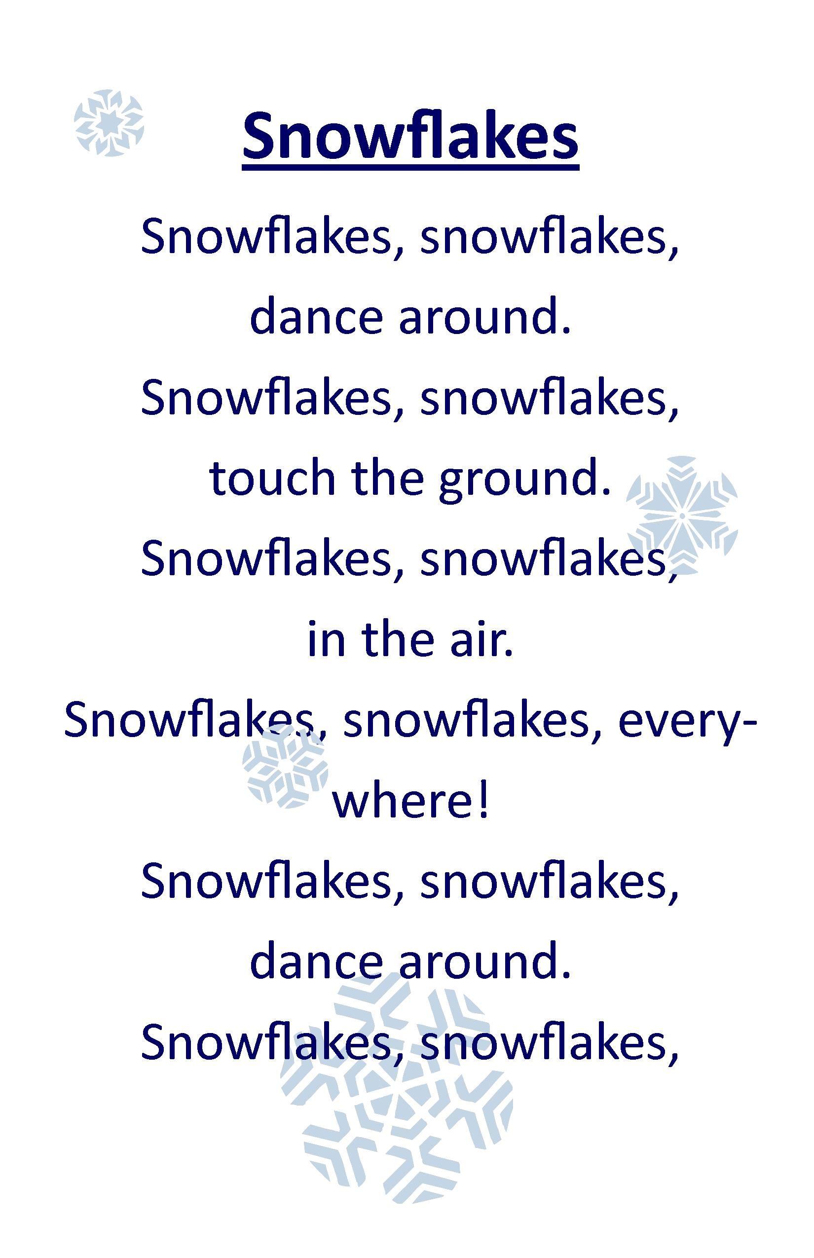 Snowflake Song Preschool