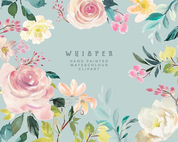 Hand Painted Flower Clipart Whisper Watercolor Floral Great