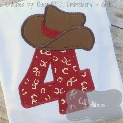 ca8924b04eb34 Gold - Cowboy Hat Applique Number Set by Belliboos - The Applique Circle