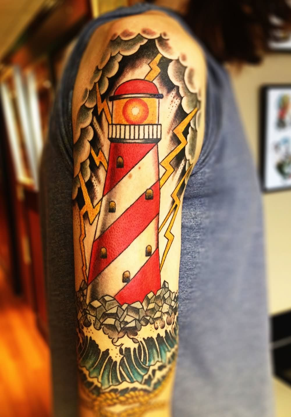 73f8d37472242 Sailor Jerry Lighthouse Tattoo On Half Sleeve | Lighthouse Tattoos ...