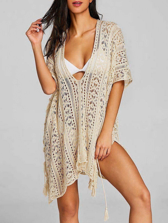 bf05039102 Asymmetric Crochet Knit Slit Cover Up | Swimwear in 2019 | Trendy ...