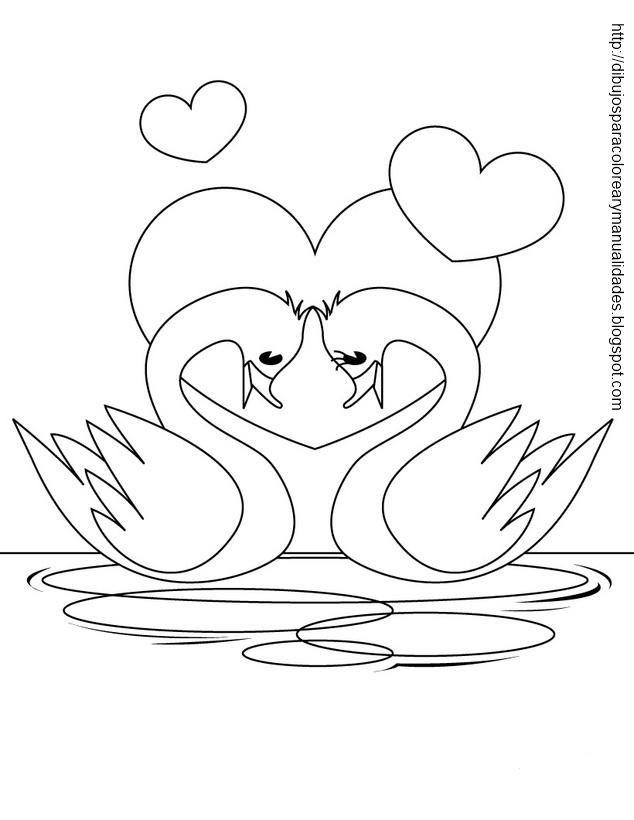Dibujo de cisnes enamorados para colorear | ♡ InLoVe ...