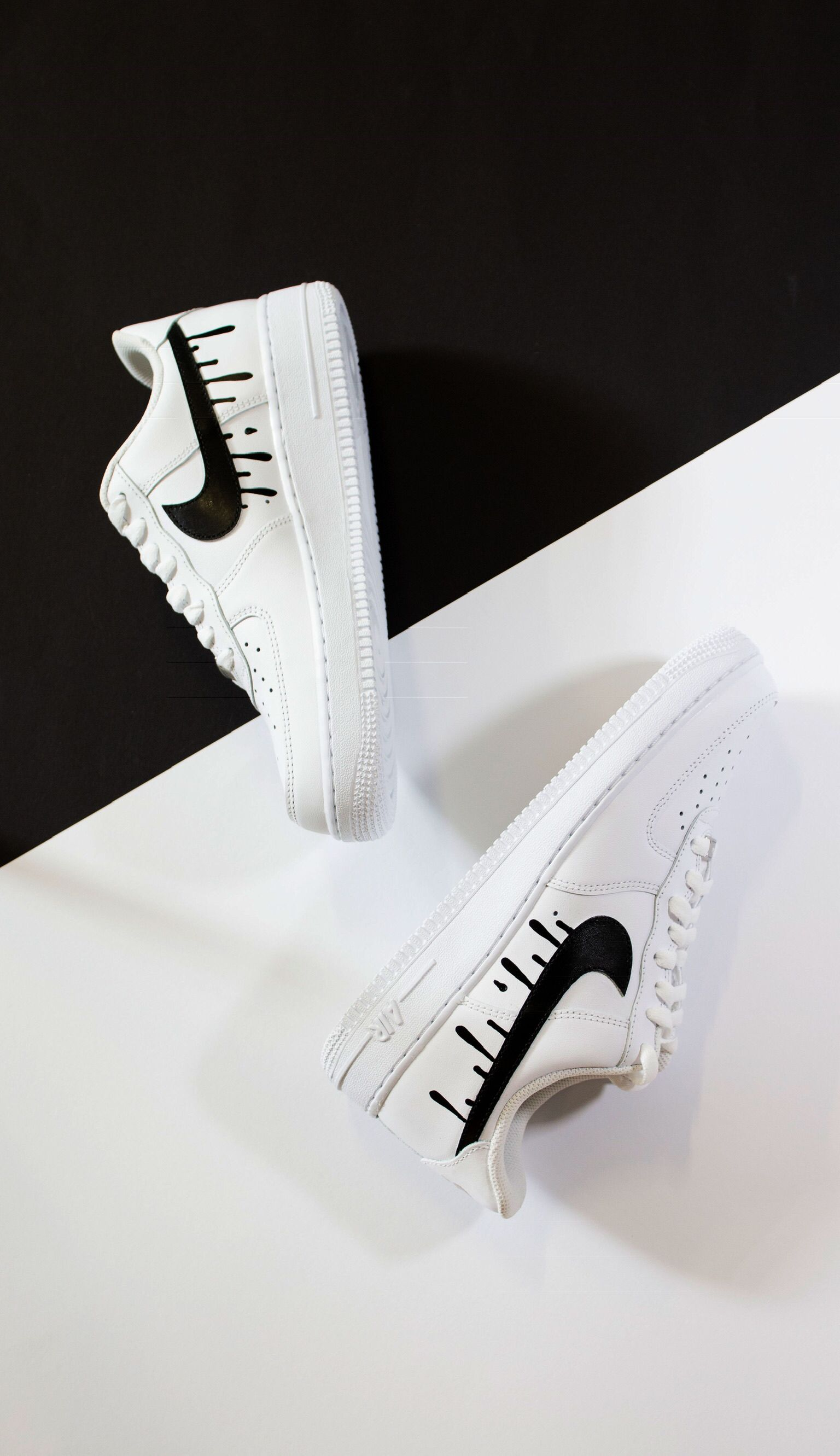 AF1 'Dripping Swoosh'   Hand painted Design 'Dripping Swoosh
