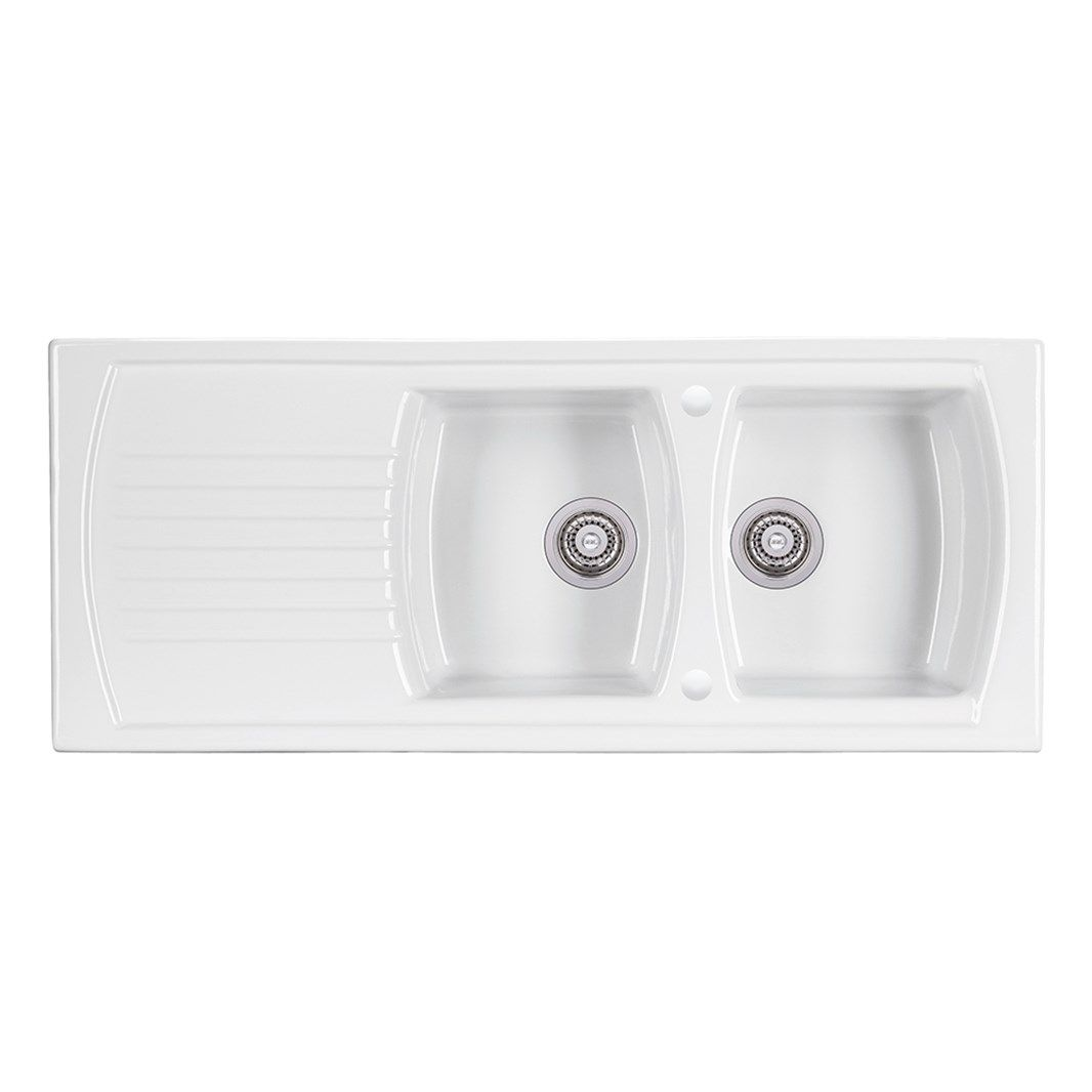 Clearwater Sonnet White Ceramic Double Bowl Sink with ...
