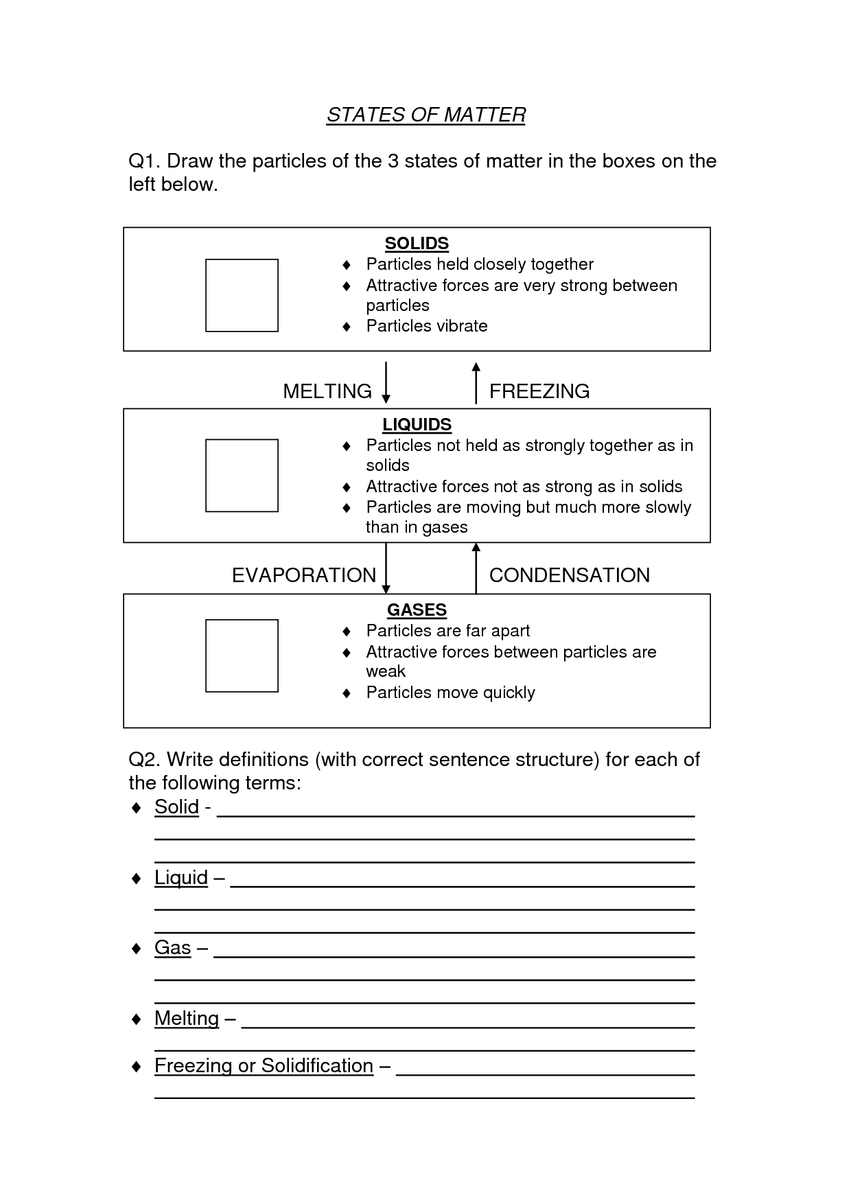 States Of Matter Worksheet High School Chemistry