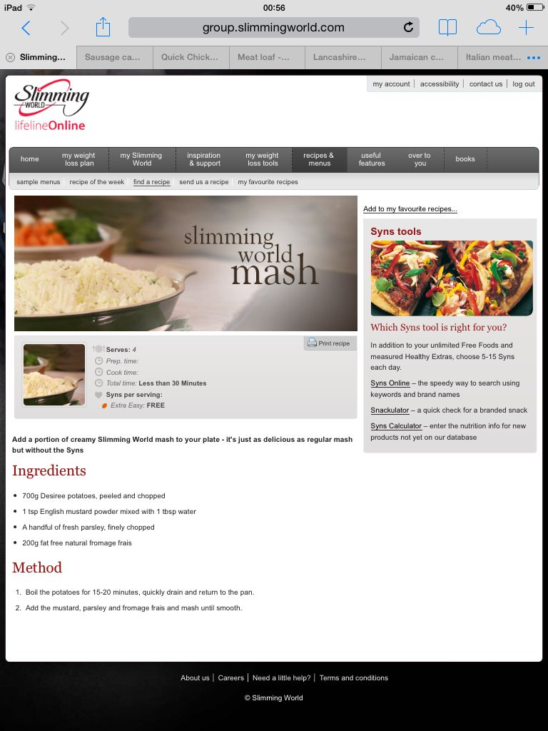 Slimming world mash