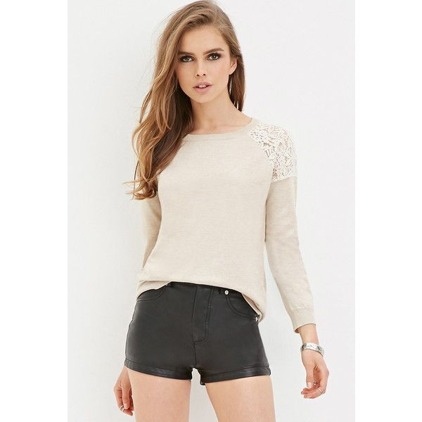 Forever 21 Forever 21 Lace-Paneled Sweater ($13) ❤ liked on Polyvore featuring tops, sweaters, forever 21 sweaters, floral print sweater, floral top, full length sweater and pink floral top