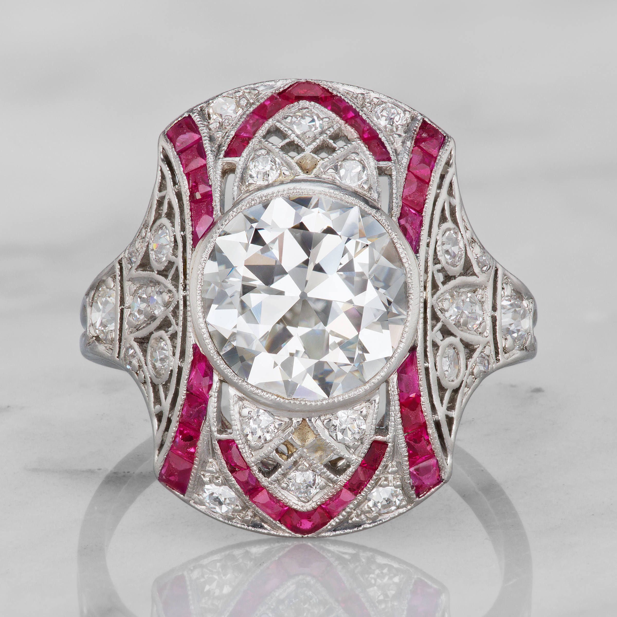 The lizette ring is an extraordinary art deco diamond u ruby