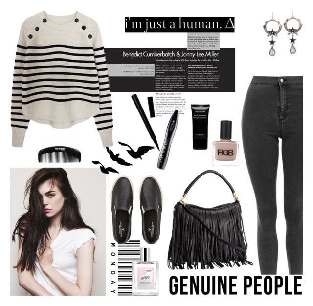 """""""I'm just a human"""" by cassy-style ❤ liked on Polyvore featuring Raina, RGB Cosmetics, Lancôme, American Eagle Outfitters, philosophy, Givenchy, mascara, stripe, bag and pant"""