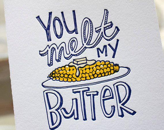 Letterpress Valentine Card  You melt my butter sweet sentiment