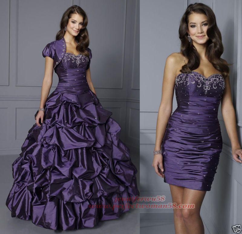 Vestido púrpura removible, lindo y práctico. | Quinceanera Dresses ...