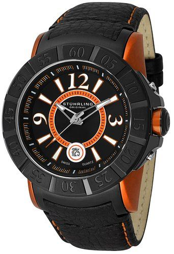 1beb549ce19 Stuhrling Gen-X Sentry Swiss Quartz Men s Watch 543.332I557 Orange Calfskin  Band