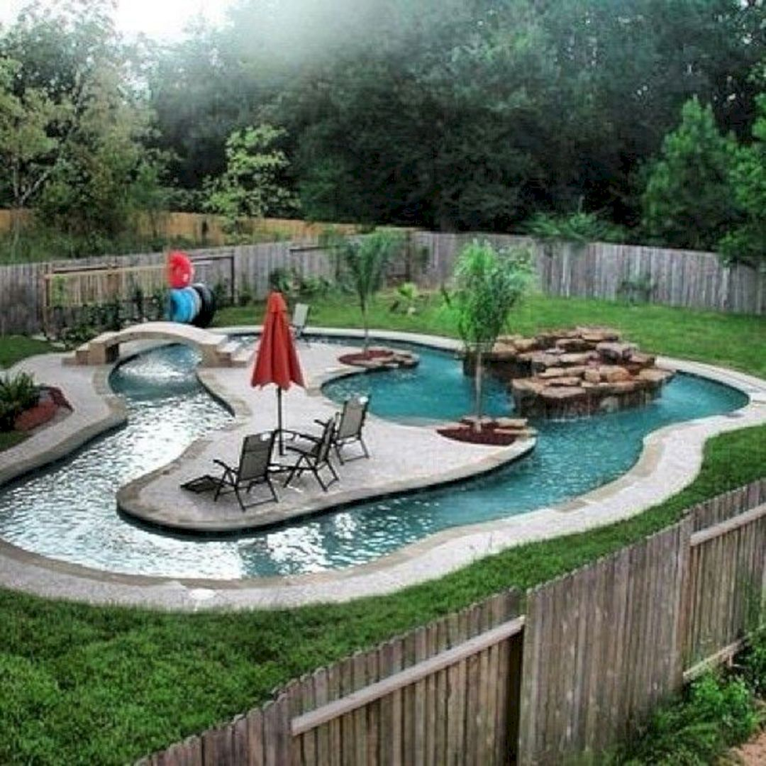 40 Awesome Back Pool Design Ideas For Your Home Backyard Freshouz Com Backyard Pool Landscaping Backyard Pool Backyard Lazy River