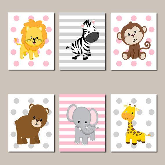 Jungle animals nursery wall art jungle nursery decor prints or canvas baby girl nursery decor - Babyzimmer jungle ...