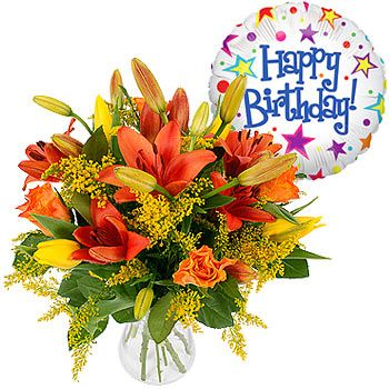 Hy Birthday Gift Set A Balloon And Perfect Flower Arrangement For Warming The Heart