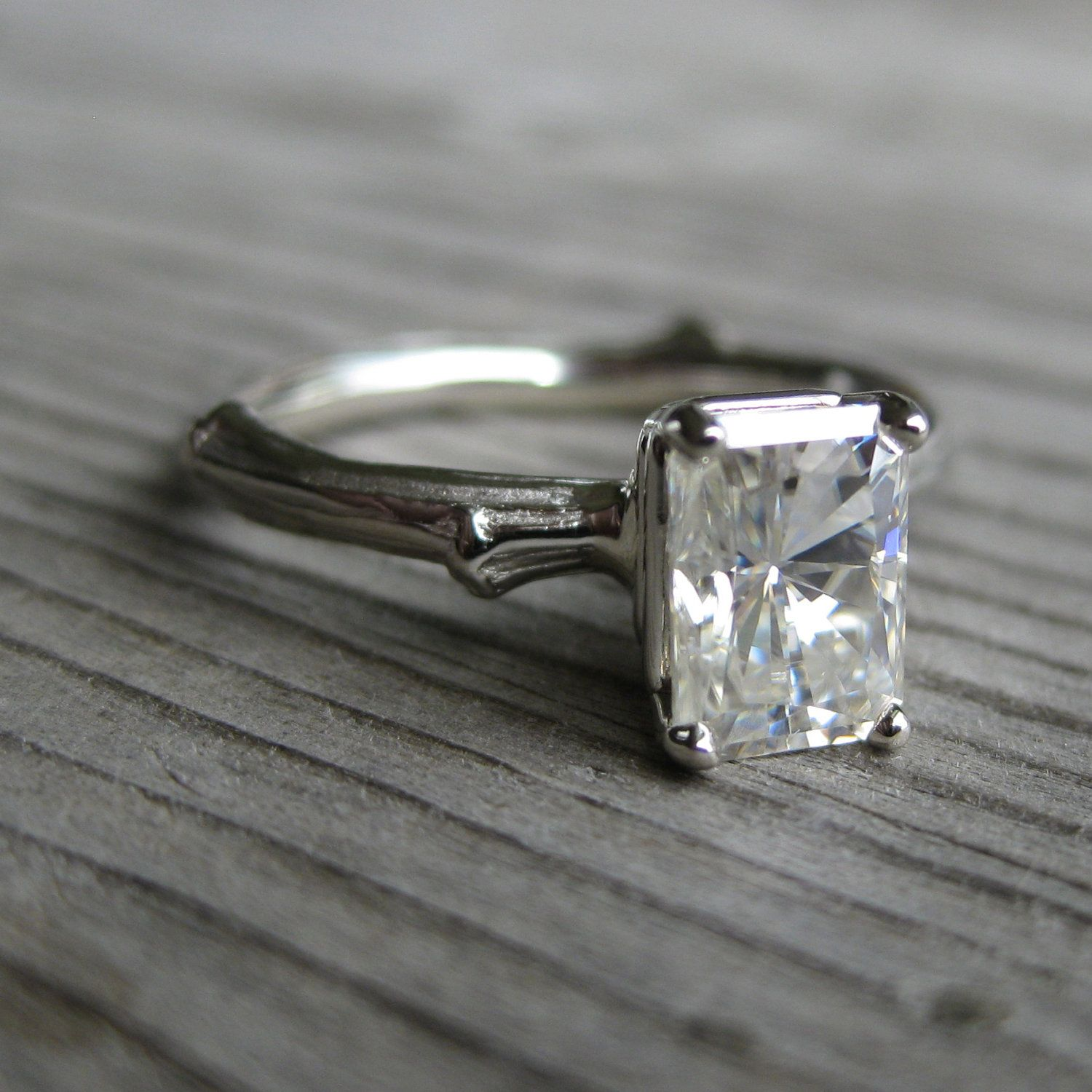 emerald cut moissanite twig engagement ring one carat