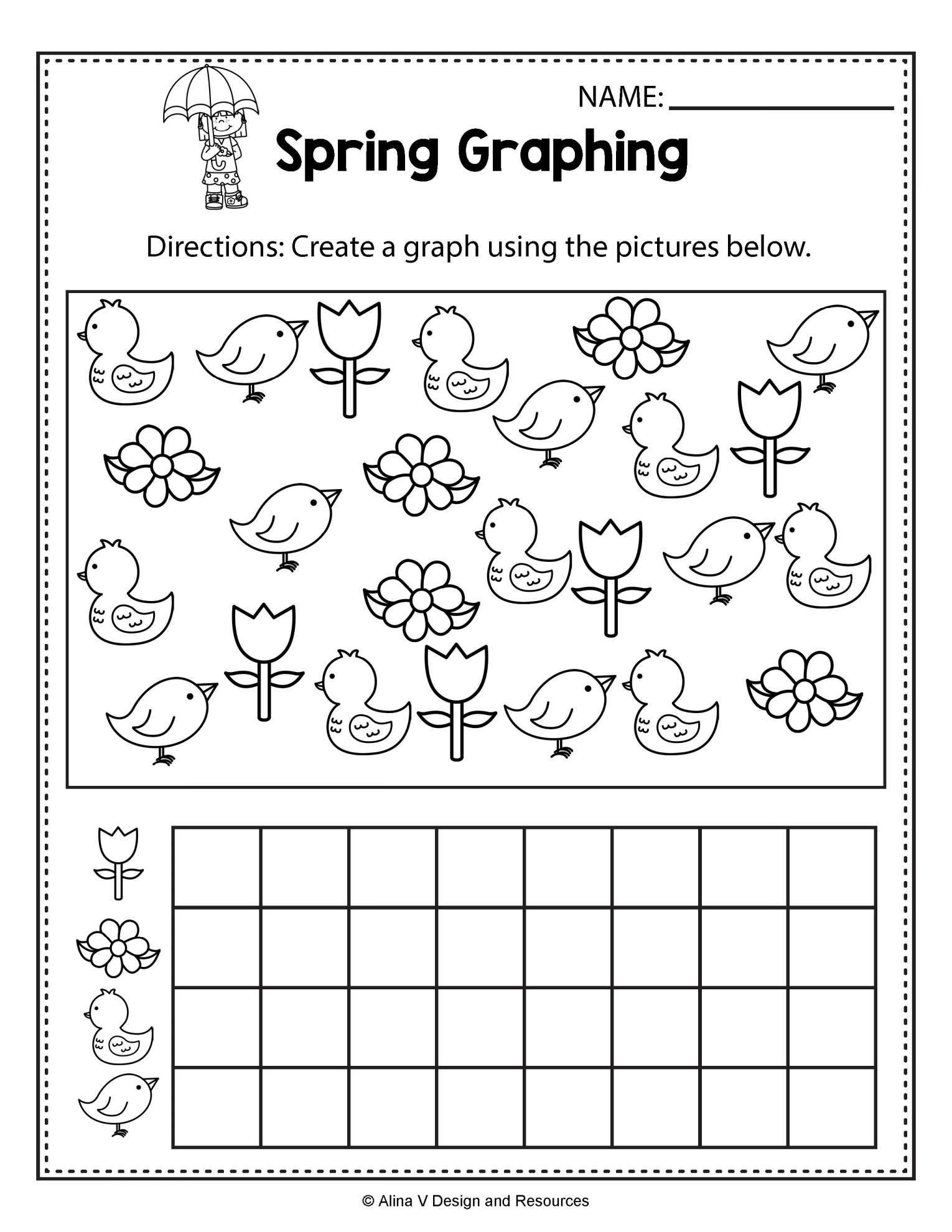 8 Spring Graphing Worksheet Kindergarten