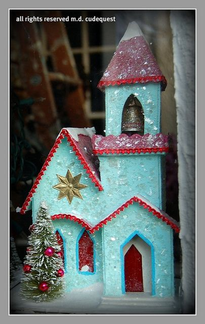 Lady J's Christmas niches: Turquoise and Red Christmas Church by mcudeque, via Flickr