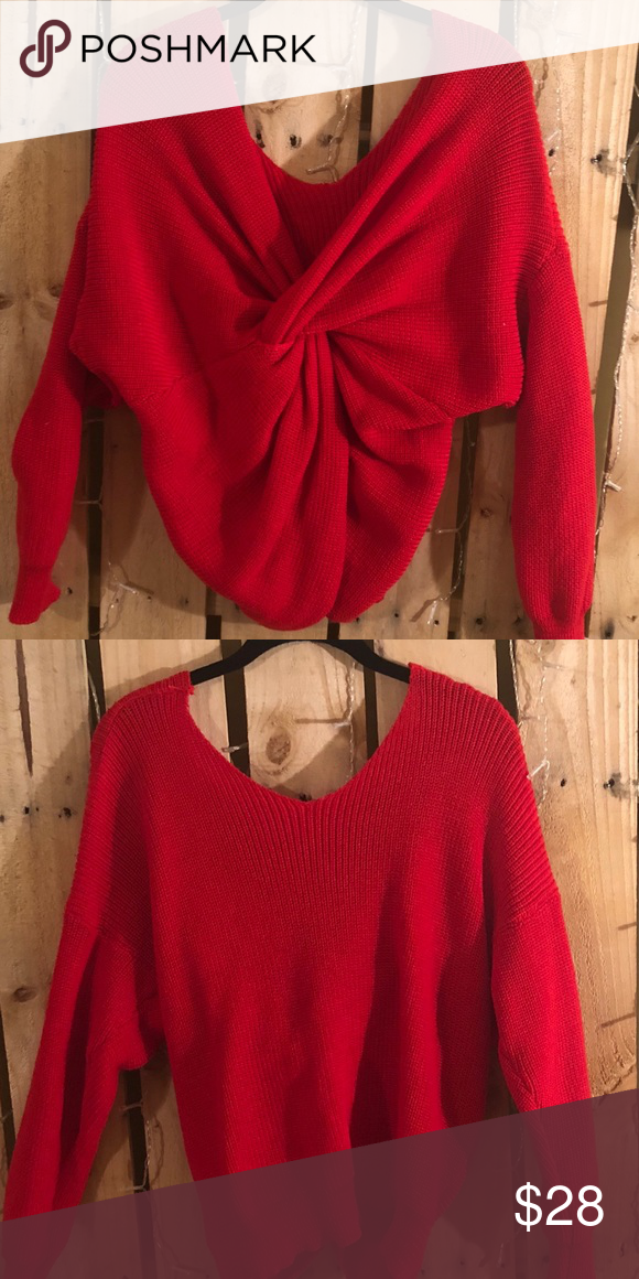 07ef8b21352 Red Tie Front Back Sweater Bright red sweater can be worn 2 ways with the