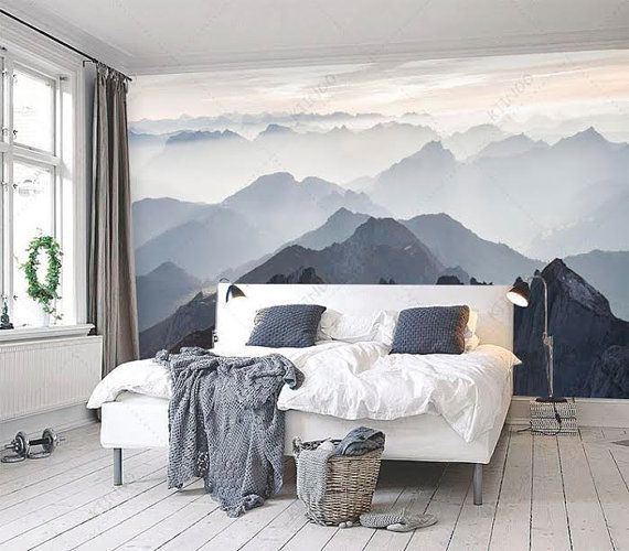 Mystical Mountains Mural Misty Mountain Shadow Hazy Silhoutte Wallpaper Wall Décor Decal Room Art