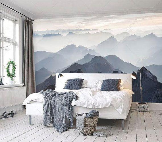 Mystical Mountains Mural Misty Mountain Shadow Hazy Silhoutte