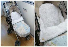 poner al bebe en la silla de paseo saco