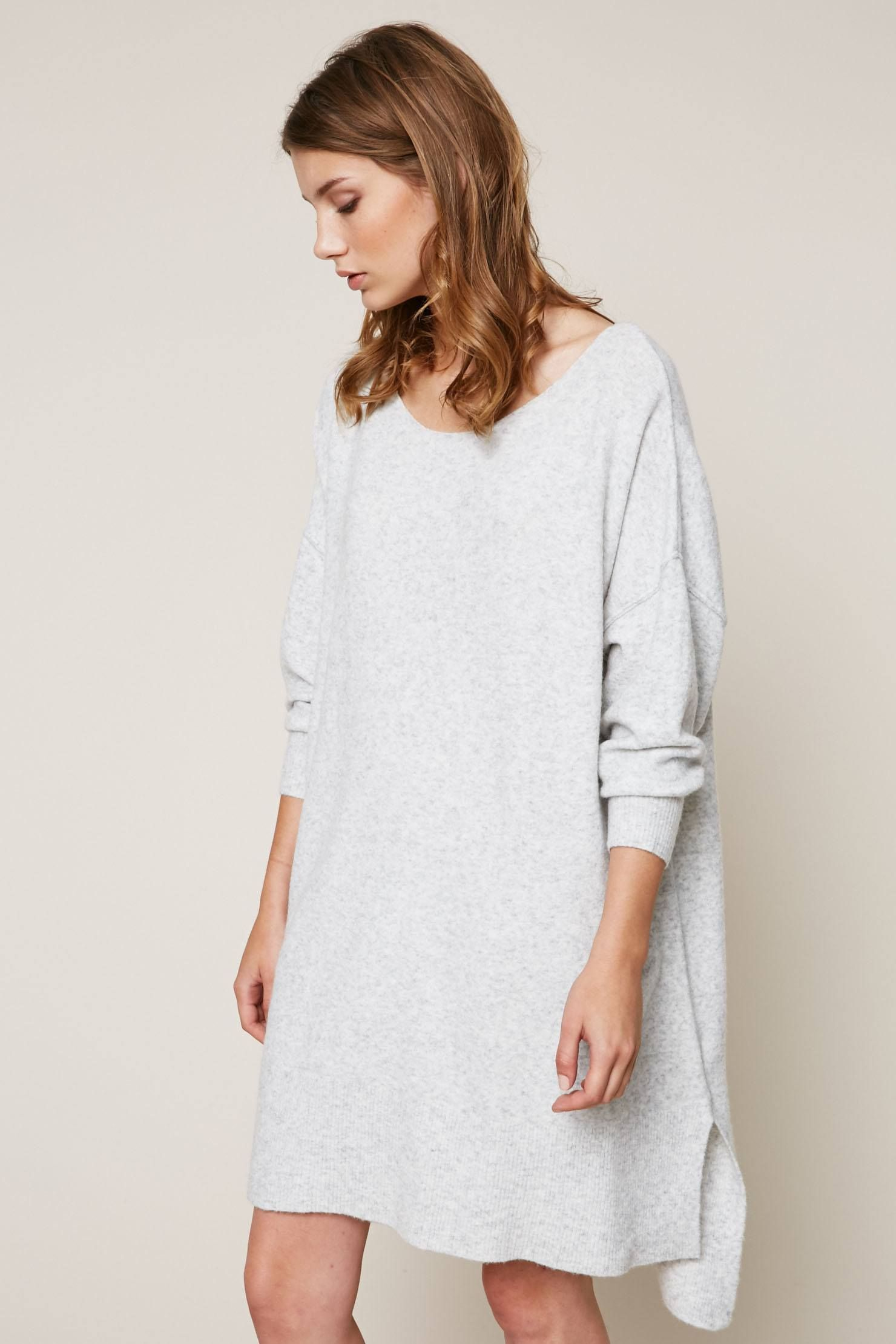 Pull Damsville long et large gris chiné zoom | American vintage ...