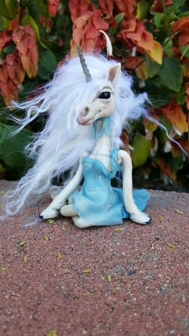 Ooak polymer clay unicorn sculpture by Lillian George 2016