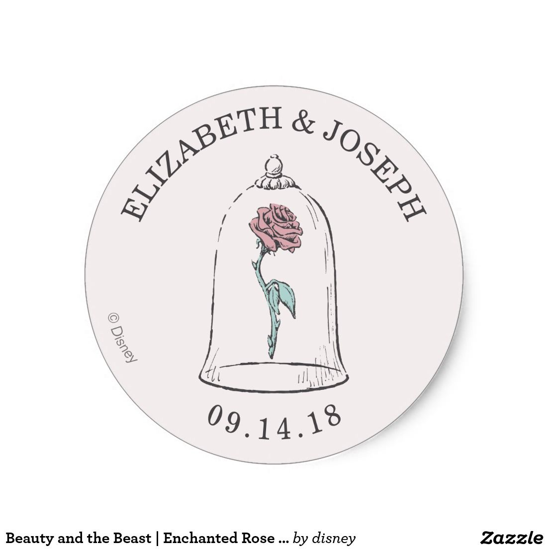 Wedding Stickers Beauty And The Beast Enchanted Rose Clic Round Sticker