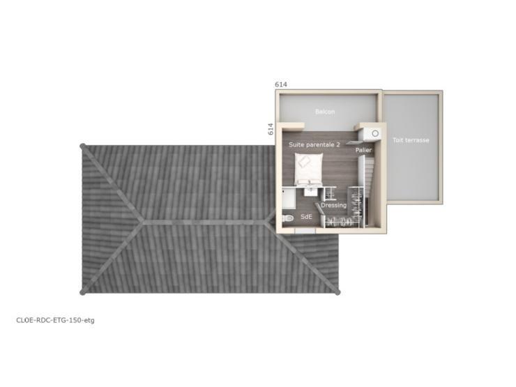 Plan de maison Cloé 150 Design Toit 4 pentes  Vignette 2 - plan de maison design